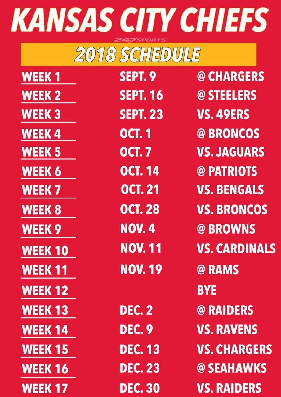 Kansas City Chiefs Football Schedule 2018