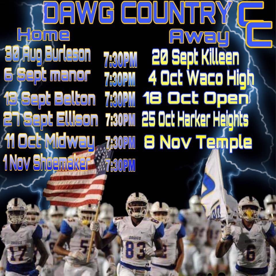 Press Release: 2019-2020 Cove Dawgs HS Football Schedule