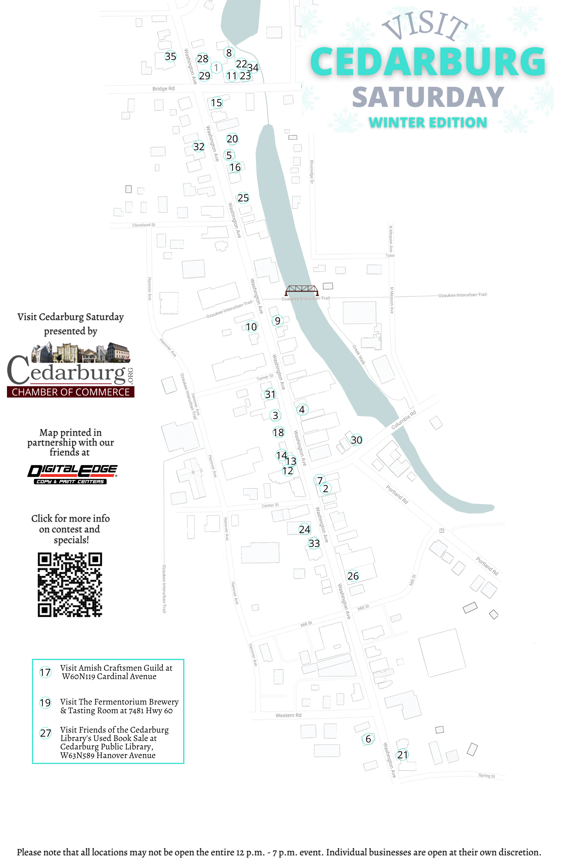 Visit Cedarburg Winter Map Back