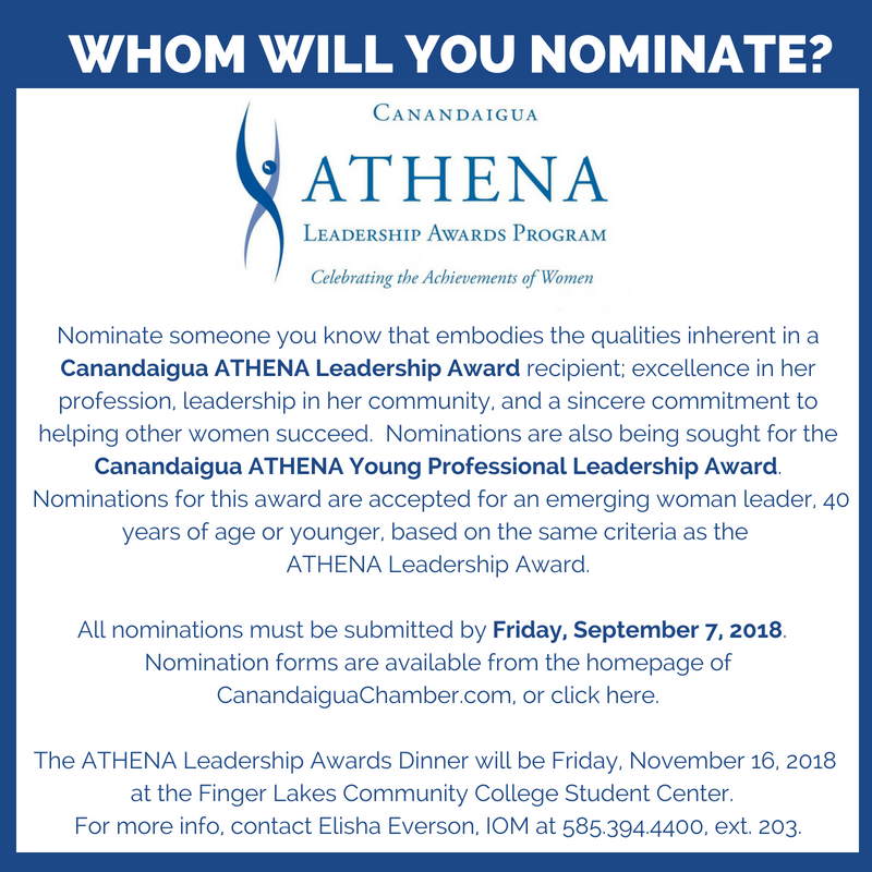 Whom Will You Nominated for the Canandaigua ATHENA Awards?