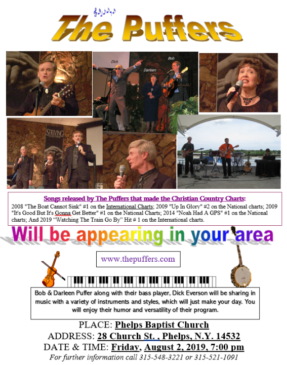 The Puffers Country Gospel Concert at Phelps Baptist - Aug 2, 2019