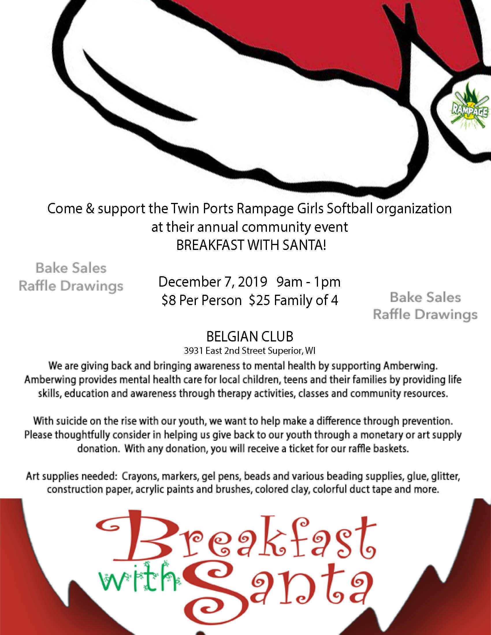 Breakfast with Santa Fundraiser Flyer