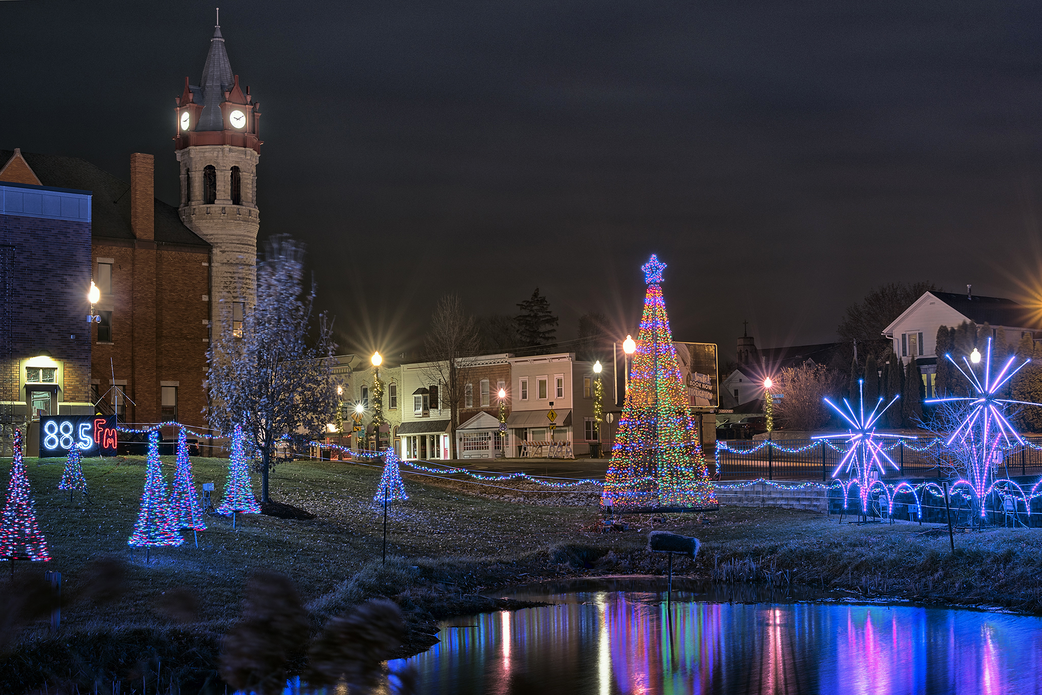 Holiday Light Display at Rotary Park in Stoughton, Wisconsin.