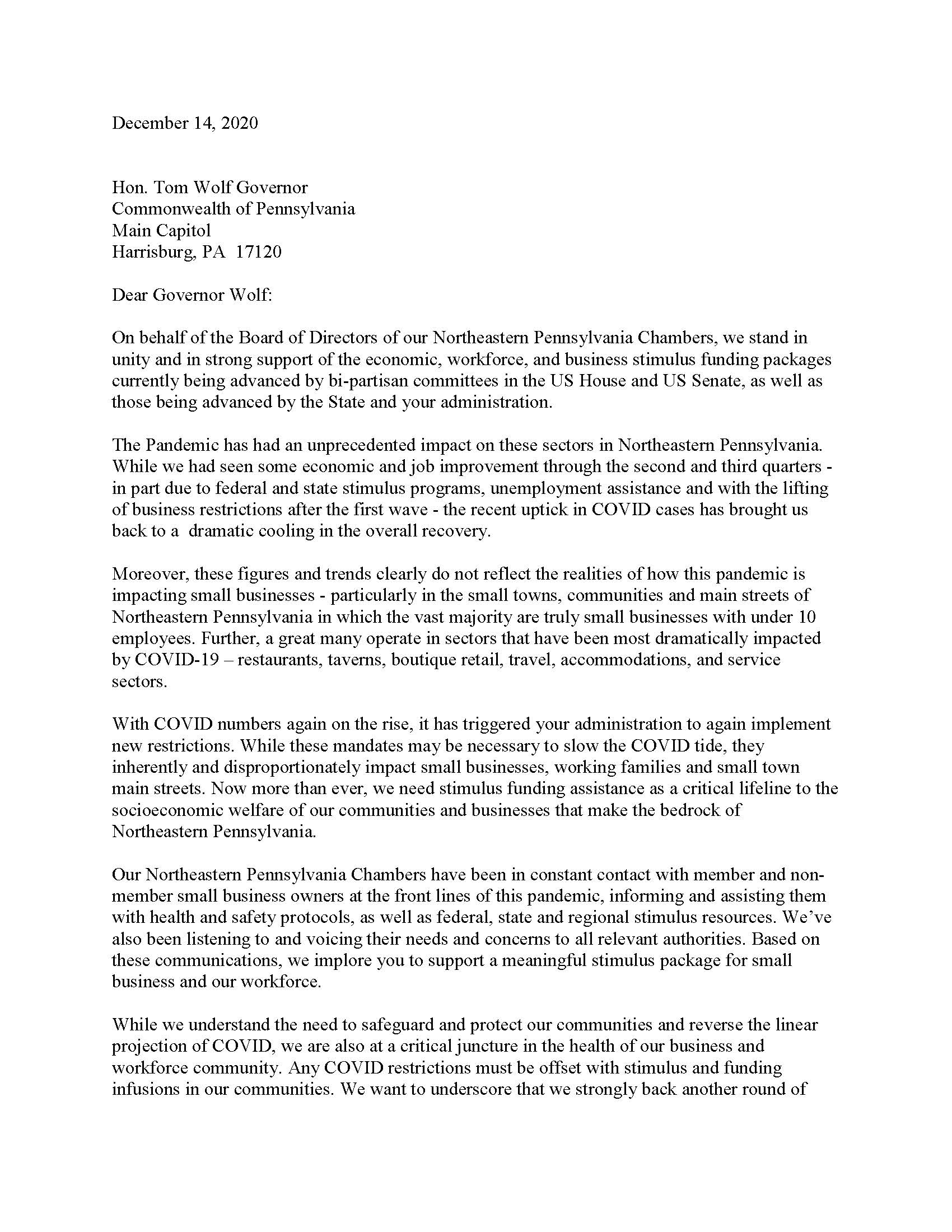 Government Affairs Letter