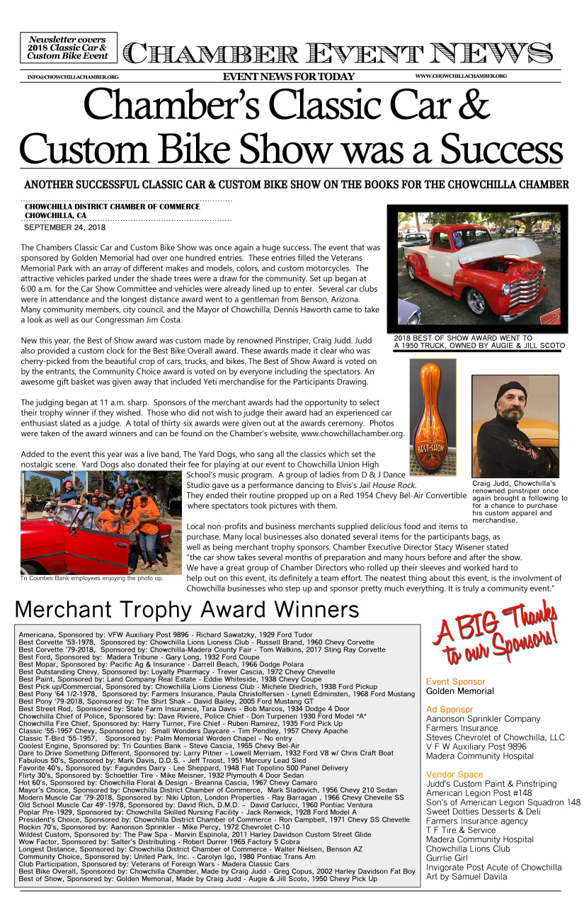 Classic Car Show Chowchilla District Chamber Of Commerce CA - Car show trophy categories