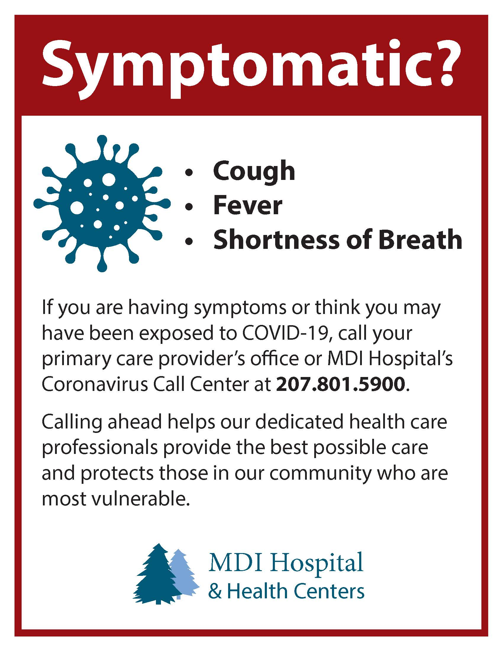MDI-Hospital COVID-19 Symptoms Guidance