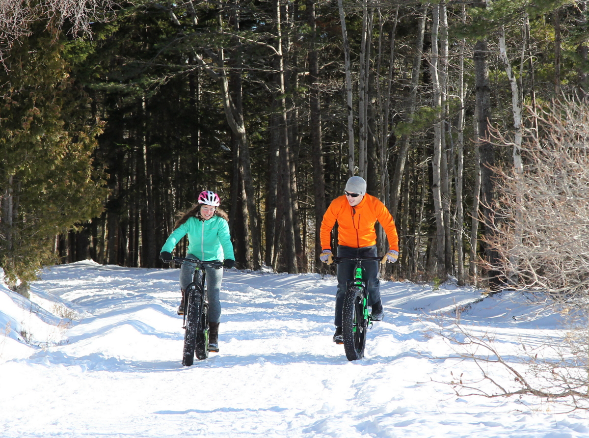 Winter Bike Ride in Acadia National Park, Bar Harbor Maine