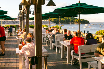 Oceanfront dining in Bar Harbor Maine