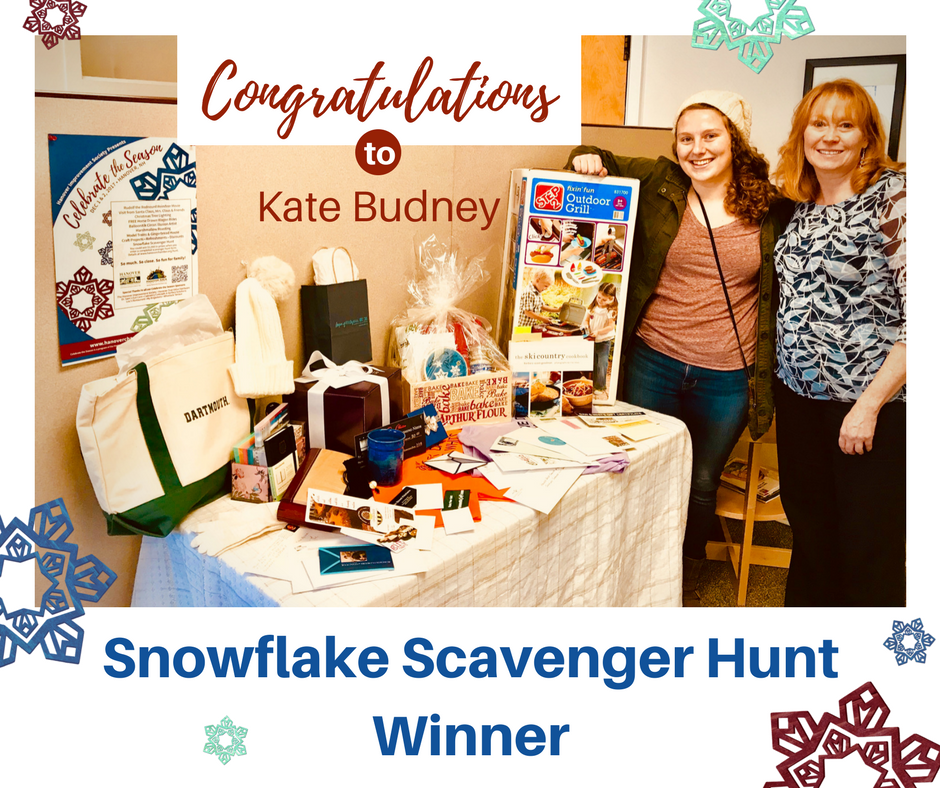 Snowflake Scavenger Hunt Winner, Kate Budney with Tracy Hutchins and prizes