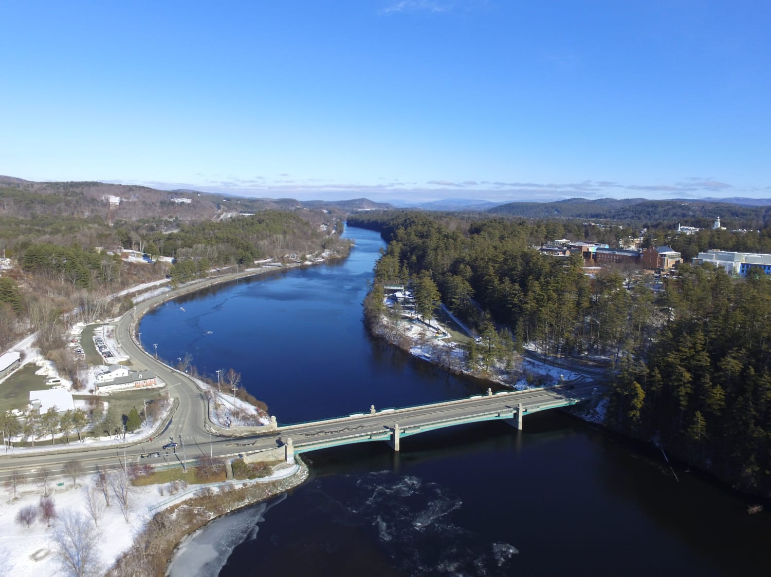 The Ledyard Bridge Connects Norwich VT and Hanover NH. Photo by JK Aerial.