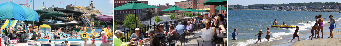 People enjoying water attraction, outdoor dining,and local beaches