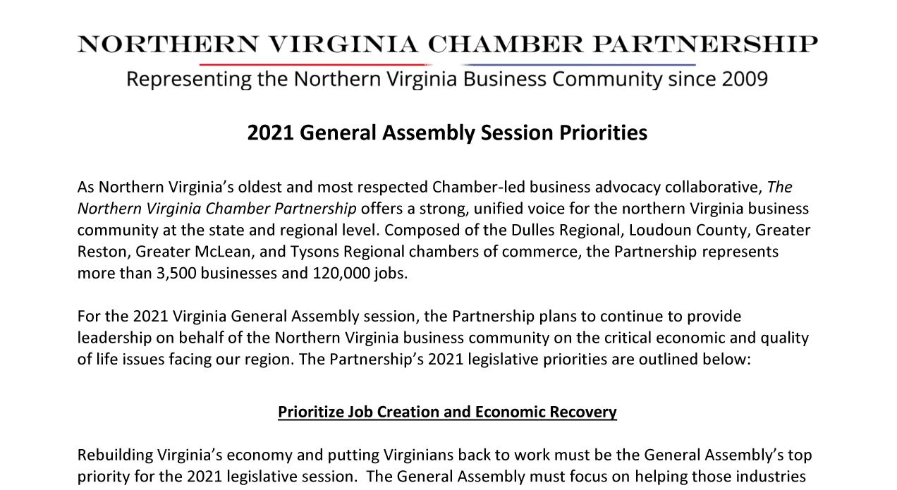 2021Northern Virginia Chamber Partnership Priorities Letter