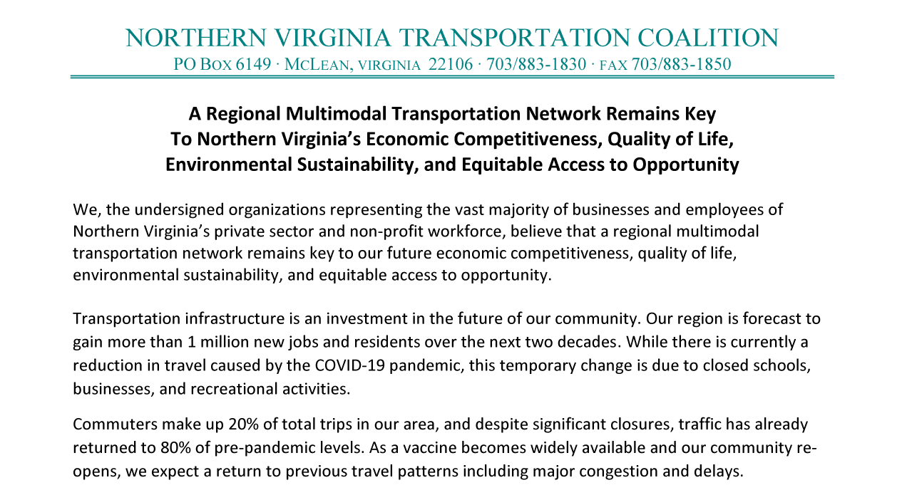2021 Northern Virginia Transportation Coalition Priorities Letter