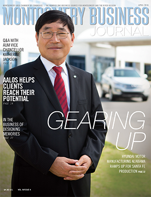 April 2016 MBJ, Montgomery Business Journal, Montgomery Chamber, Hyundai Motor Manufacturing Alabama
