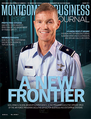 August 2011 MBJ, Montgomery Business Journal, Montgomery Chamber, Gen. Craig S. Olson, Gunter Annex, Air Force, MAxwell-Gunter AFB