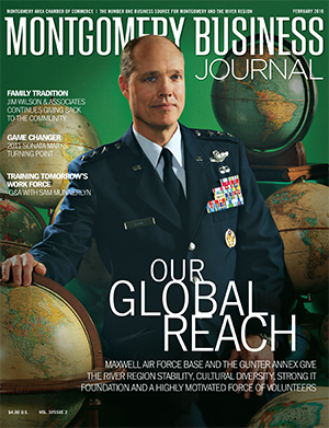 February 2010 MBJ, Montgomery Business Journal, Montgomery Chamber, Maxwell-Gunter AFB, Air Force, Lt. Gen. Allen G. Peck