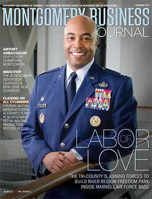 February 2014 MBJ, Montgomery Business Journal, Montgomery Chamber, River Region Freedom Park, Maxwell-Gunter AFB, Air Force, Col. Trent Edwards