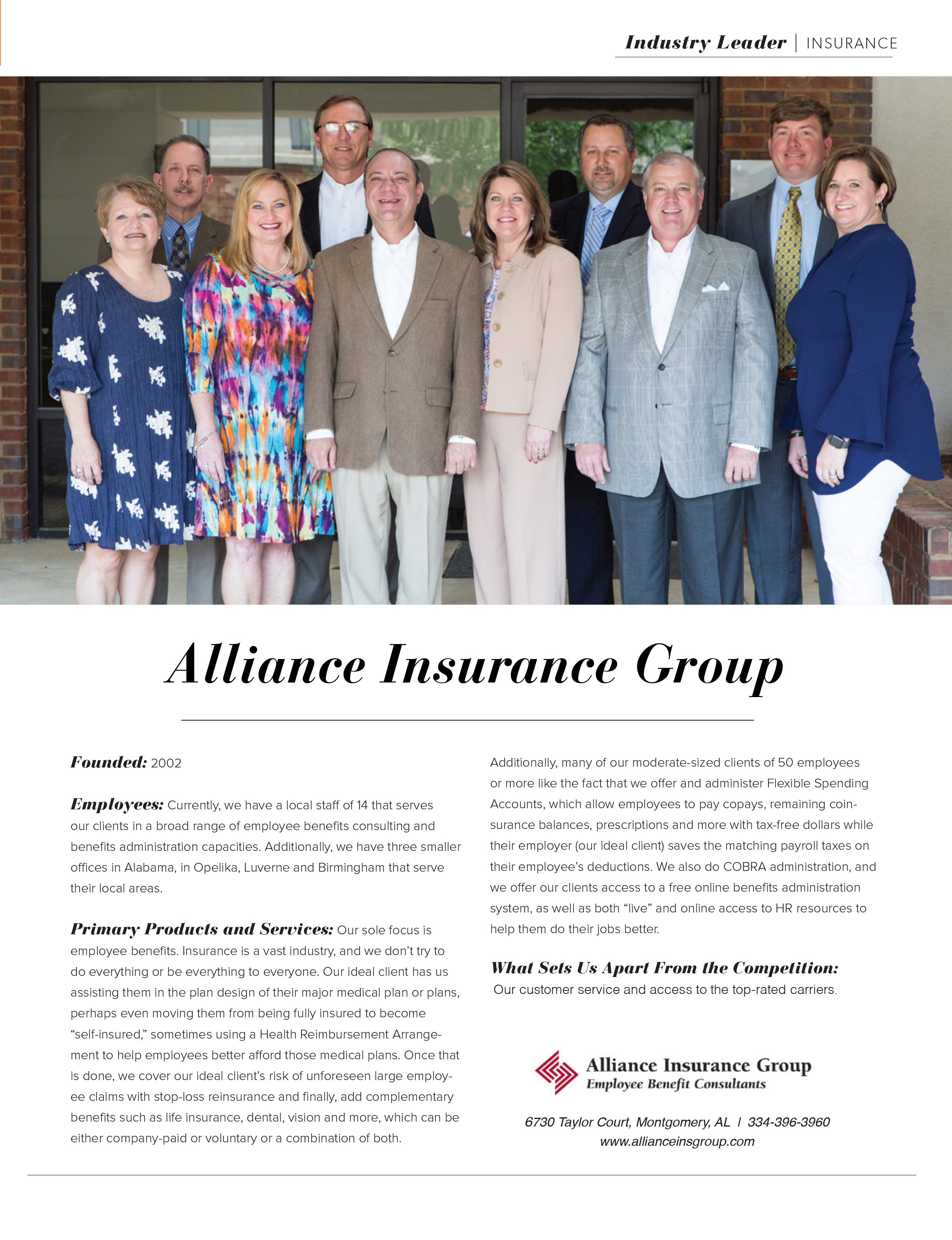Industry Leader Alliance Insurance Group, MBJ, Montgomery Business Journal, Montgomery Chamber of Commerce