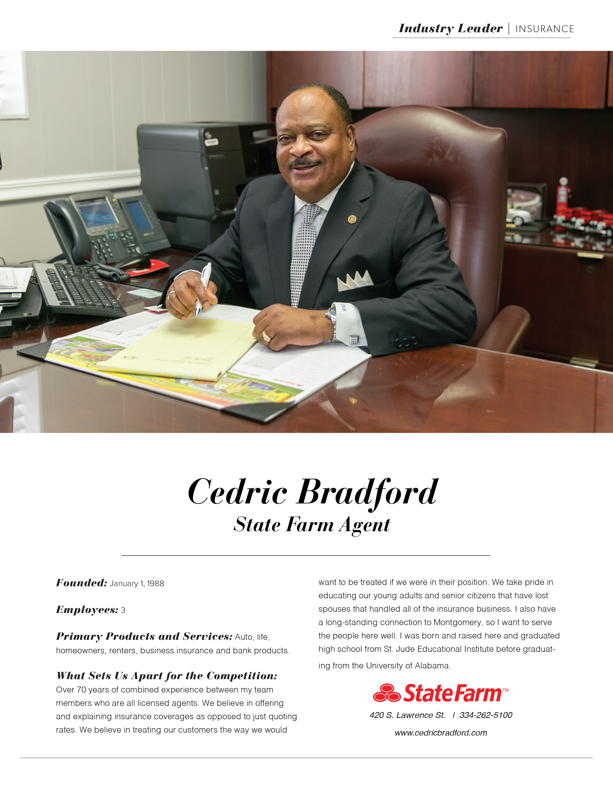 Industry Leader, Cedric Bradford, State Farm, MBJ. Montgomery Business Journal, Montgomery Chamber of Commerce