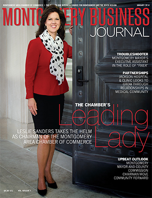 January 2014 MBJ, Montgomery Business Journal, Montgomery Chamber, Chairman Leslie Sanders, Alabama Power