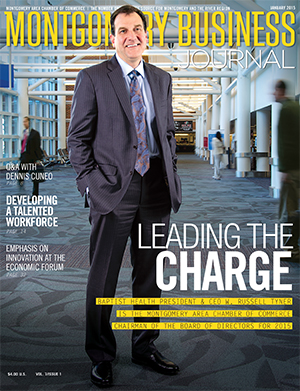 January 2015 MBJ, Montgomery Business Journal, Montgomery Chamber, Chamber Chairman Russ Tyner, Baptist Health