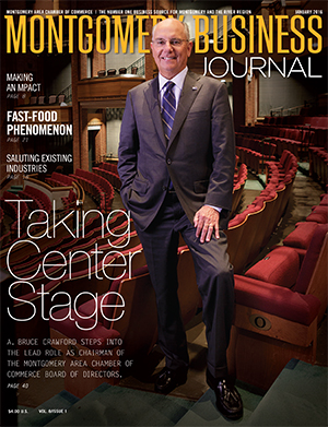 January 2016 MBJ, Montgomery Business Journal, Montgomery Chamber, Chamber Chairman Bruce Crawford, BBVA Compass