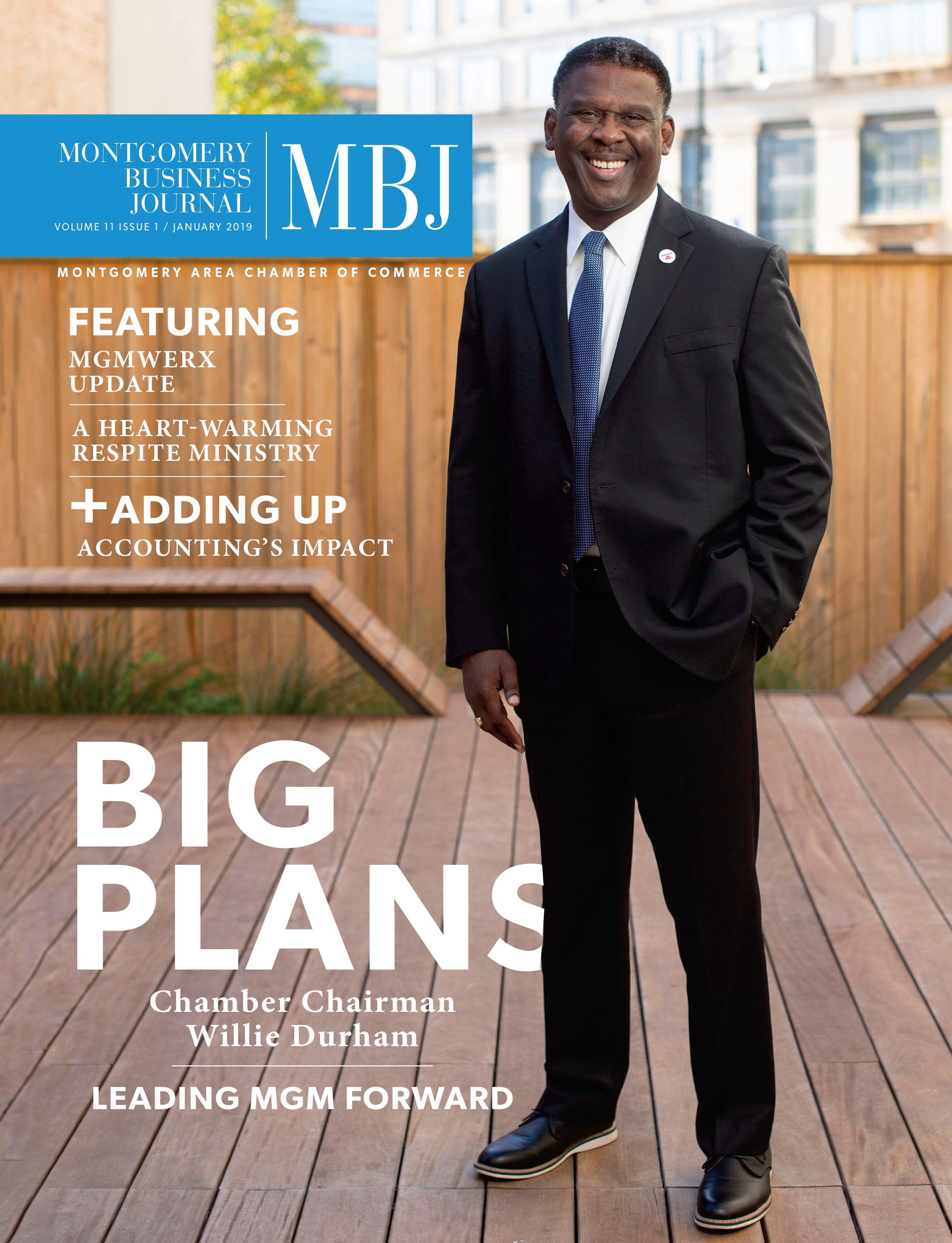 January 2019 Montgomery Business Journal, Montgomery Area Chamber of Commerce, MGMChamber, Montgomery Chamber, Willie Durham, City of Montgomery, State Farm Insurance, Chamber Chairman