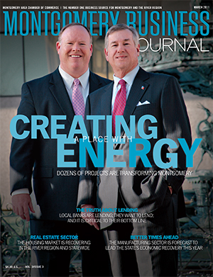 March 2011 MBJ, Montgomery Business Journal, Montgomery Chamber, Transforming Montgomery, Mayor Todd Strange, Jeff Downes
