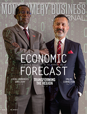 March 2016 MBJ, Montgomery Business Journal, Montgomery Chamber, Economic Forecast, Keivan Deravi, Sam Addy
