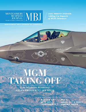 March 2018 MBJ, Montgomery Business Journal, Montgomery Chamber, Air Force, MGM Taking Off, F-35 Mission
