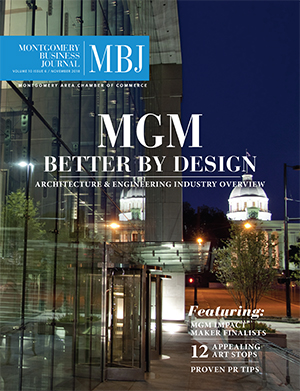 November 2018 MBJ, Montgomery Business Journal, Montgomery Chamber, Architecture & Design Industry, MGM Impact Makers