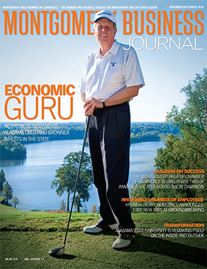 November/December 2010 MBJ, Montgomery Business Journal, Montgomery Chamber, David Bronner, Robert Trent Jones Golf Trail, Retirement Systems of Alabama, RSA