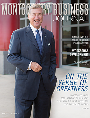 November/December 2015 MBJ, Montgomery Business Journal, Montgomery Chamber, Mayor Todd Strange, Montgomery Alabama