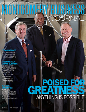 October 2011 MBJ, Montgomery Business Journal, Montgomery Chamber, Poised for Greatness, Mayor Todd Strange, County Commission Chairman Elton N. Dean Sr., Larry Puckett
