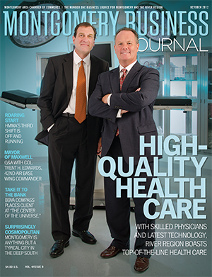 October 2012 MBJ, Montgomery Business Journal, Montgomery Chamber, Russ Tyner, Joe Riley, Baptist Health, Jackson Hospital & Clinic