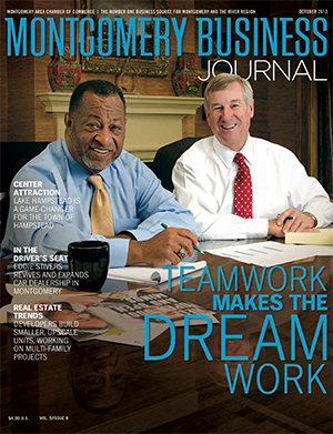October 2013 MBJ, Montgomery Business Journal, Montgomery Chamber, Mayor Todd Strange, County Commission Chairman Elton N. Dean Sr.