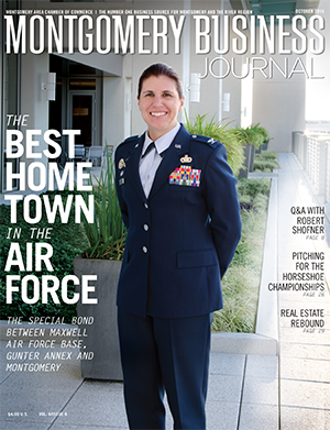 October 2014 MBJ, Montgomery Business Journal, Montgomery Chamber, Maxwell-Gunter AFB, Air Force, Best Home Town in the Air Force, Col. Andrea Tullos