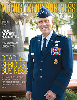 October 2015 MBJ, Montgomery Business Journal, Montgomery Chamber, Lt. Gen. Steven Kwast, Air University, Air Force, Maxwell-Gunter AFB
