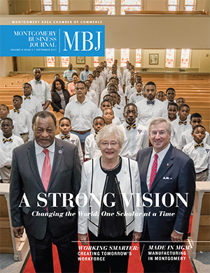 September 2017 MBJ, Montgomery Business Journal, Montgomery Chamber, Valiant Cross, Governor Kay Ivey, Mayor Todd Strange, County Commission Elton N. Dean Sr.