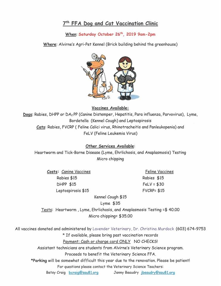 Alvirne Dog and Cat Vaccinations