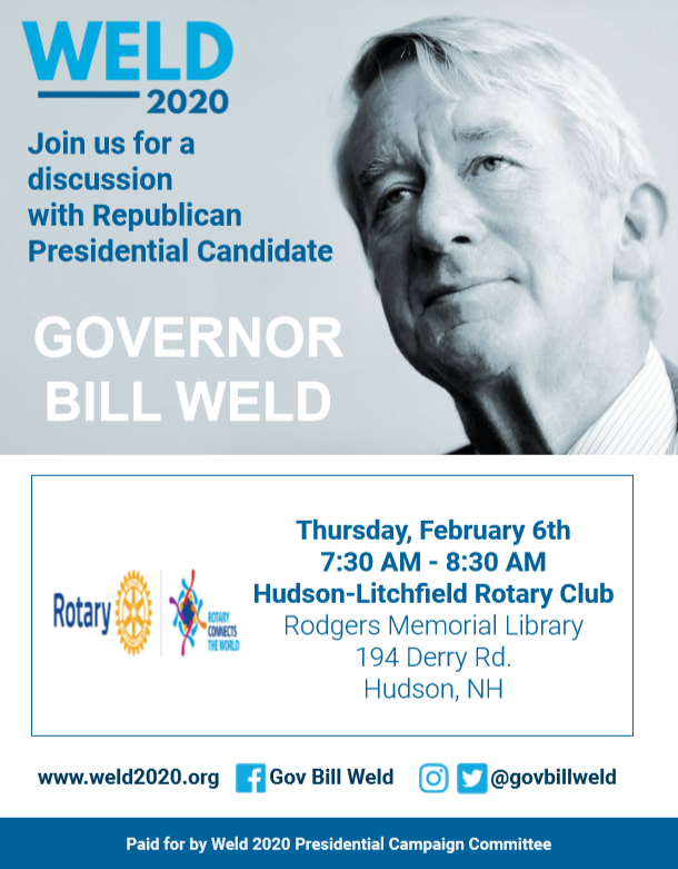 Discussion with Republican Presidential Candidate William Weld