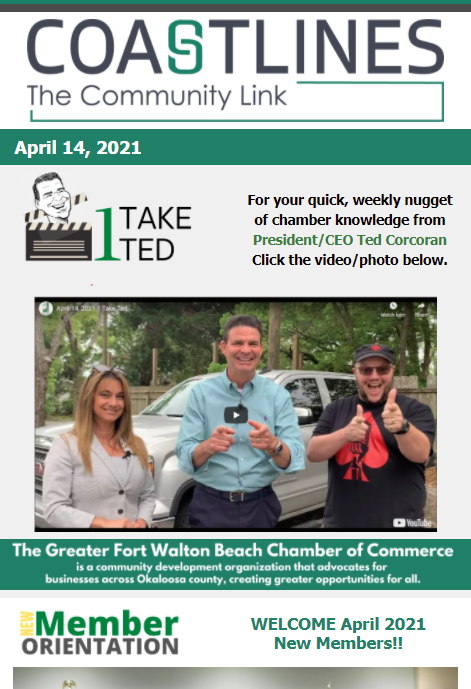 Image of Coastlines email for April 14, 2021 for the Greater Fort Walton Beach Chamber