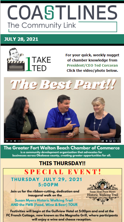 Image of Coastlines email for July 28, 2021 for the Greater Fort Walton Beach Chamber