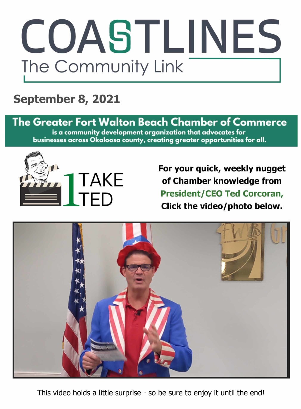 Image of Coastlines email for September 8, 2021 for the Greater Fort Walton Beach Chamber