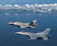 jets in a clear blue sky, flying over the ocean