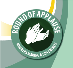 Illustration of hands clapping in a dark green circle with the Greater Fort Walton Beach Chamber logo swirls behind it.