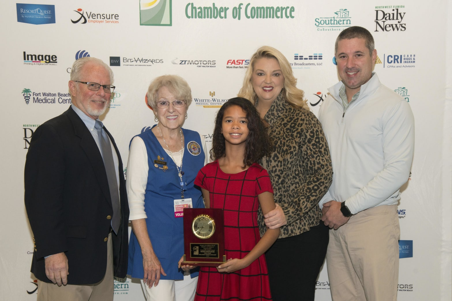 The winner of the Inaugural Hugh Kendall Community Impact Award in 2018 - Wanda Stapleton from Twin Cities Hospital - pictured here with (from left) Nick Chubb, 2018 Chamber Chair; Ms. Stapleton; Maci Kendall, Hugh's daughter; Jill Kendall, Hugh's widow; and Bobby Kendall, Hugh's son.