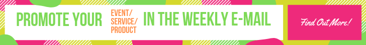 Promote your event, service, or products in the weekly email.