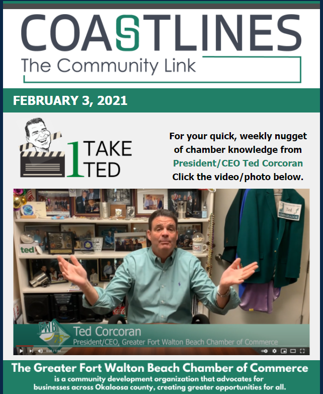 Image of the Coastlines for February 3 2021 for the Greater Fort Walton Beach Chamber