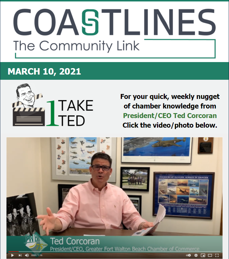 Image of Coastlines email for March 10, 2021  for the Greater Fort Walton Beach Chamber